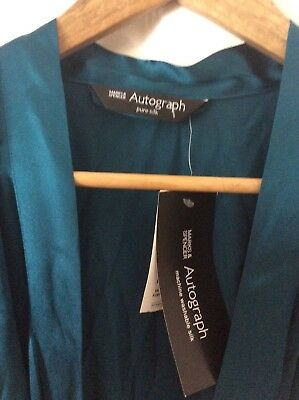 Marks And Spencer Autograph Pure Silk Long Negligee Size 12 With Tags Bnwt