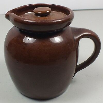 Antique Bybee Pottery Brownware Small Pitcher / Creamer W/ Lid Made in Kentucky