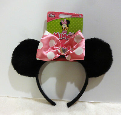 Mickey Minnie Mouse Ears Headband with Pink Bow | Officially-licensed Disney