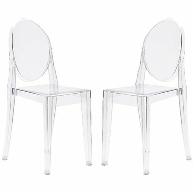 Terrific Poly Bark Em 103 Clr X2 Dining Chair Set Of 2 Na Clear Bralicious Painted Fabric Chair Ideas Braliciousco