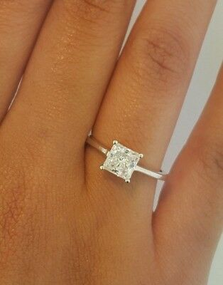 14k Solid White Gold 1.5 CT Diamond Engagement Ring Princess Cut Solitaire