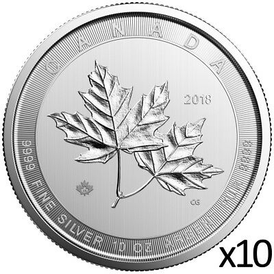 10 x 10 oz 2018 Silver Magnificent Maple Leaf Coin - .9999 - Royal Canadian Mint