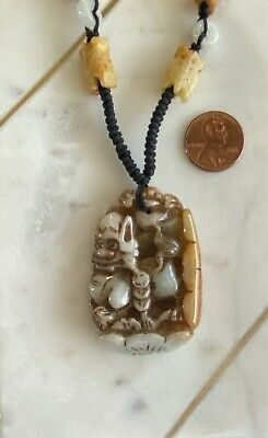 Hand Knotted Carved Jade Necklace, Fu Dog, Lotus and Prosperity coins