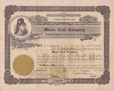 1921 Mears Coal Co (Greensburg, Pa) stock certificate
