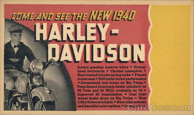 Motorcycle 1940 Harley-Davidson Advertising Postcard 1c stamp