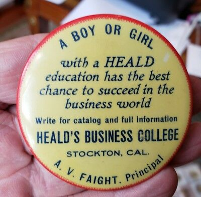 Early1900's HEALD'S BUSINESS COLLEGE Stockton Calif Advertising Pocket Mirror