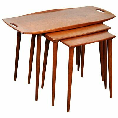 Danish Modern Teak Nesting Tables Jens Quistgaard Mid Century Tray Table  1960s