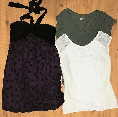 Juniors Clothing Lot City Triangles Dress and Express Lace Top Shirt Size M