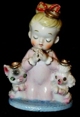 """Vintage Figurine. Child Knealing and Praying with Pets. Serial #6055A. 5"""" Tall."""