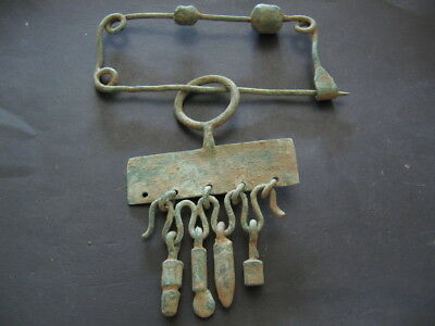 Bronze Age Ancient Illyrians Bronze Fibula With 4 Pendants & 2 Beads 1100-900 Bc