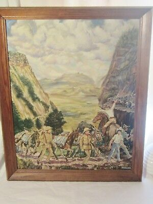 Herbert Renkewitz Original  Oil On Canvas Latin-American Silver Transport Mining