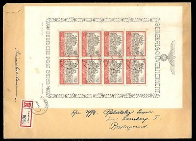 POLAND, WWII German Occupation, #N73, Complete Sheet USED on Cover, RARE w/cert