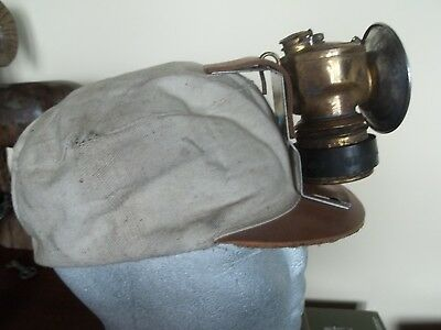 Miners JUSTRITE  CARBIDE LAMP with Canvas & Leather Cap