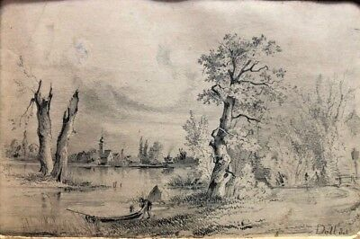 Painting By Artist Anton Doll 1826-1887 Landscape drawing