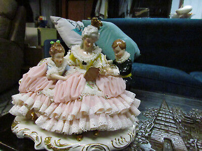 "7"" Tall 9"" Long Porcelain Lace Figurine Couch Book Germany  Dresden Art W R #5"
