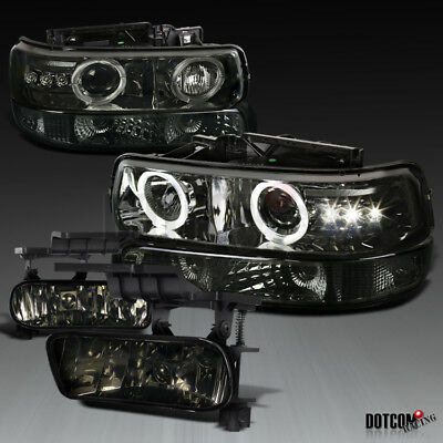 99-02 Silverado Smoke LED Dual Projector Headlights+Smoke Bumper Lamps+Fog Light