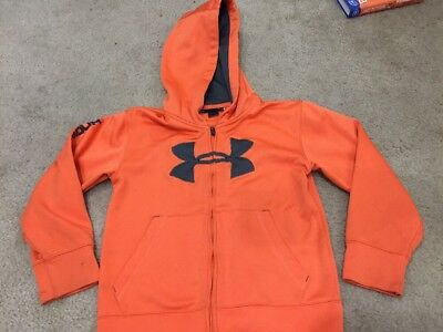 Under Armour Boys Youth Size 7 Full Zip Hoodie Sweatshirt. Orange. Free Shipping