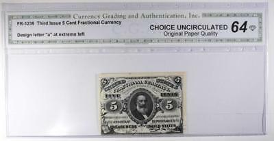 Third Issue 5 Cent Fractional Currency   Choice Uncirculated 64   Original Paper