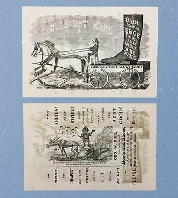 c1890 HANDBILL CABLE SCREW WIRED BOOTS, CONNECTICUT, BLACK AMERICANA LITHOGRAPH