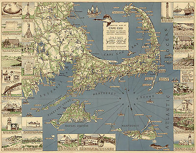 1940 Decorative Pictorial Map Cape Cod Genealogy History Art Poster Wall Decor