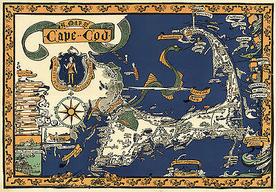 1926 Map Cape Cod Wall Art Poster Decor Vintage Family History Antique Style