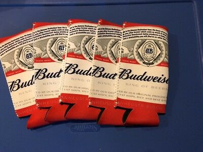 Budweiser Beer Tall Boy 24 / 25 oz. Koozie - Set of 5 - Fast Free Shipping