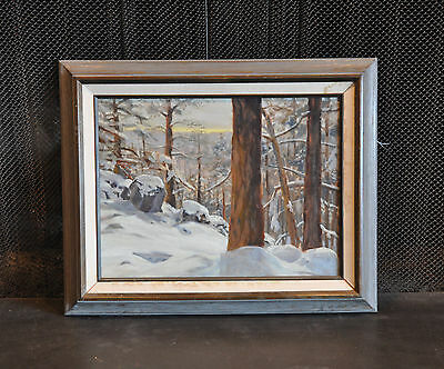 Tom Ward -  Winter Landscape Oil Painting - Snow In Forest Mogollon Rim Arizona