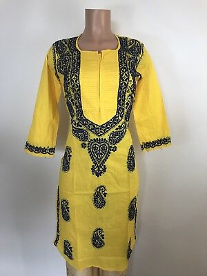 $25 REtail $75 100% Hand Crafted Hand Embroidered Indian Kurta Women Dress L