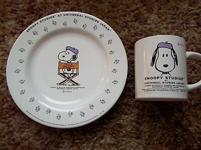Snoopy/Peanuts Universal Studios Japanese Mug and Plate Set