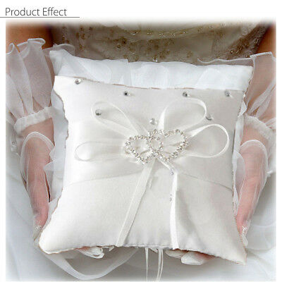 20x20cm Romantic Dual-Heart White Satin Wedding Party Ring Bearer Pillow Cushion