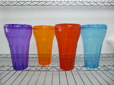 NEW Coca Cola 32 oz Plastic Collector Cups with Lids Set of 4!
