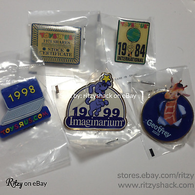 """Toys """"R"""" Us Geoffrey - RARE Lot of (5) Employee Pins Exclusive TRU Collectibles"""