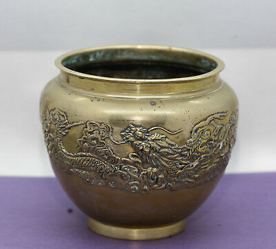 Decorative Antique Chinese Solid Brass Double Dragon Vase  Great Quality