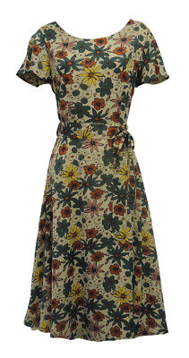 New Ladies Retro WW2 Wartime 1930's 40's Style Floral Beige and Green Tea Dress
