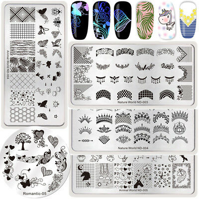 5Pcs NICOLE DIARY Nail Art Stamping Plates Necklace Geometry Stamp Image Plates