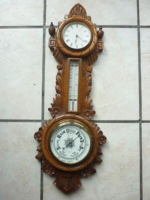 Antique golden oak clock thermometer Barometer