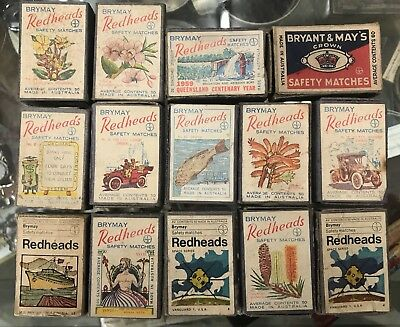 Vintage Match Box Collection Bryant & May Redheads 40s 50s 60s Matches