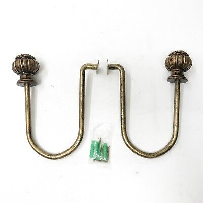 Vtg Pair Curtain Tie Backs Holdback Metal Ornate Antique Chippy Finish