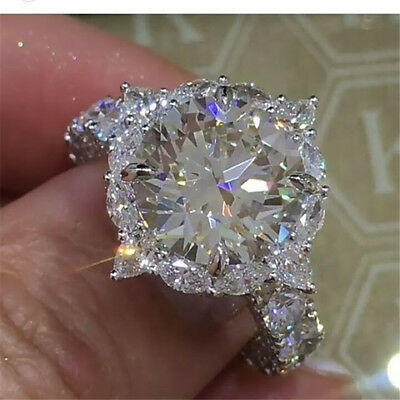 4.9ct Full White Topaz 925 Silver Ring Jewelry Wedding Party Size 6-10 Vintage