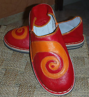 Funky Leather Moroccan Babouche Slippers 11/45 Red
