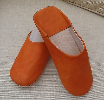 VERY SOFT LEATHER SLIPPERS / MULES * ORANGE  11/45 From Morocco