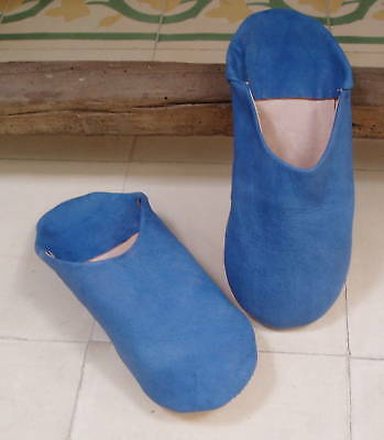 VERY SOFT LEATHER SLIPPERS / MULES * BLUE size 10/44 from Morocco