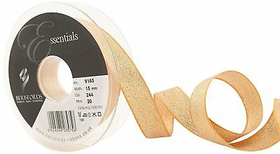 Berisfords Dark Gold Sparkly Lame Lurex Metallic Ribbon - 3mm 7mm 15mm 25mm 40mm