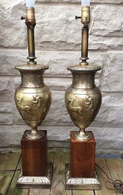 Pair Mid Century Neoclassical Brass Wood Greek Roman Chariot Urn Lamps
