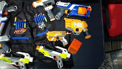 NERF GUNS job lot of 10 with vest