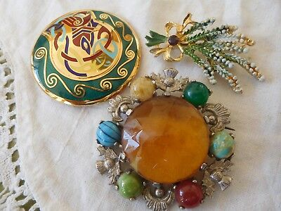 Three Lovely Vintage 1950s/60s Scottish Celtic Brooches