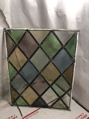 Vintage Stained Leaded Glass Window Rustic Farmhouse Cottage Shabby Chic