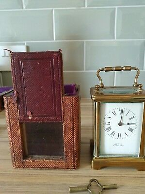 Antique Vintage Brass Carriage Clock With Original Travel Case And Key