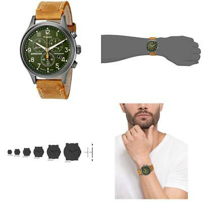 ffb62ffc6 Timex Mens Tw4B04400 Expedition Scout Chrono Tan/Green Leather Strap Watch