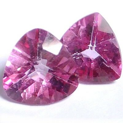 NATURAL TRILLION-CUT PINK TOPAZ GEMSTONES LOOSE PAIR 6.9 x 6.9 mm. TOP COLOUR